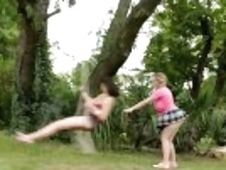 """big-boobed Step Sisters Practice Outdoor Girly-girl Loving"""