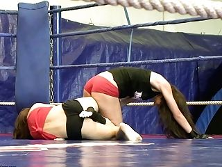 Sophie Lynx And Mira Shine Grapple Wearing Little Cut-offs