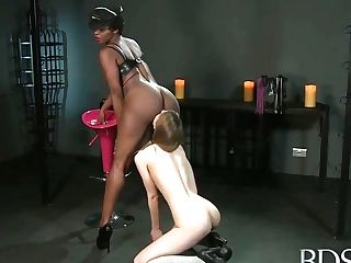 Milky Chick, Stella Cox And Her Black Mistress Are Having A Superb Time In The Basement