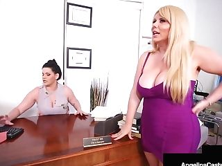 Bbw Lawyer Angelina Castro Belt Cock Fucks Cougar Karen Fisher!